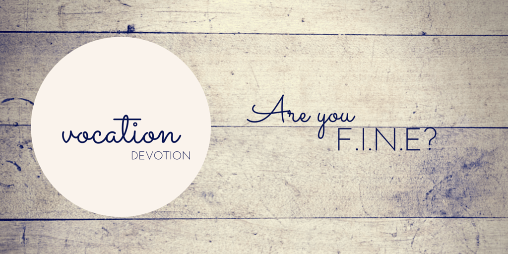 Devotion: Are you F.I.N.E.?