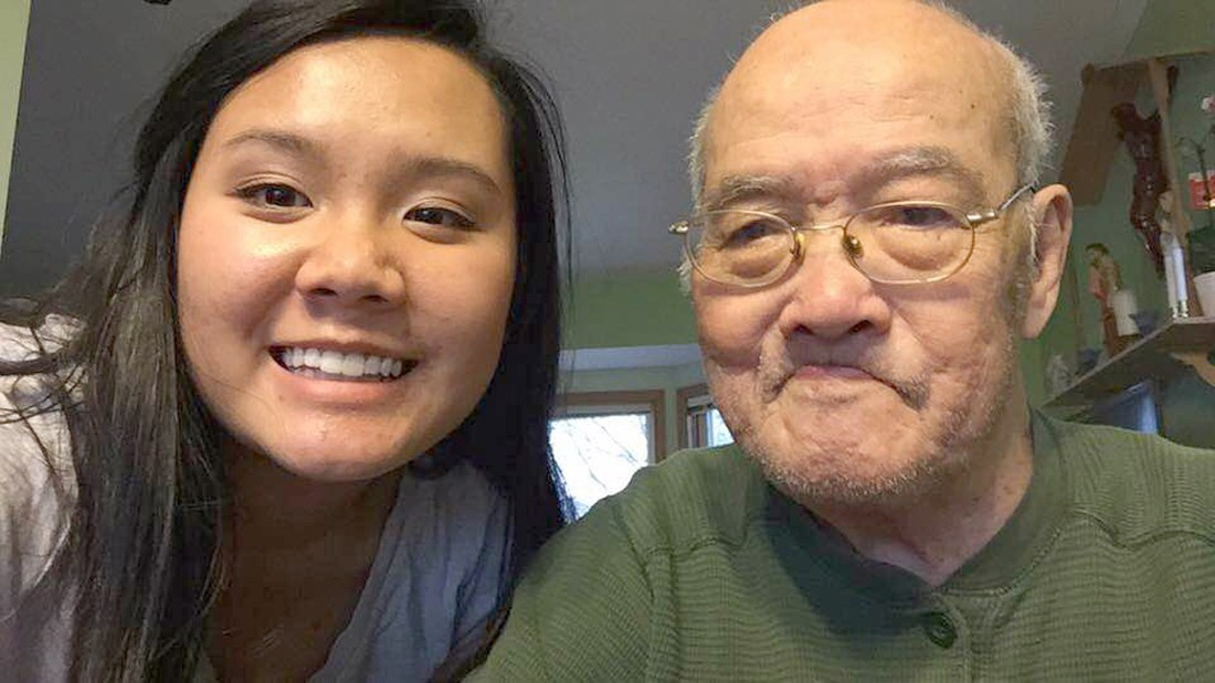 2016 Youth Frontiers Minnesota Character Award Winner, Samantha HoangLong, caregiving for her grandfather