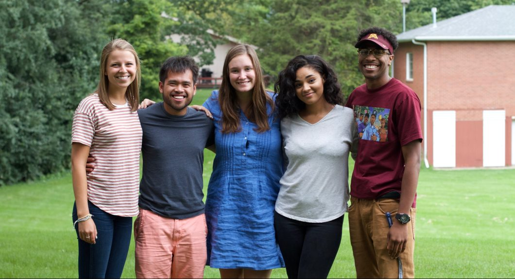 Youth Frontiers' 2017 Y Corps: Genevieve, Kevin, Maggie, Dahlia, and Traiveon