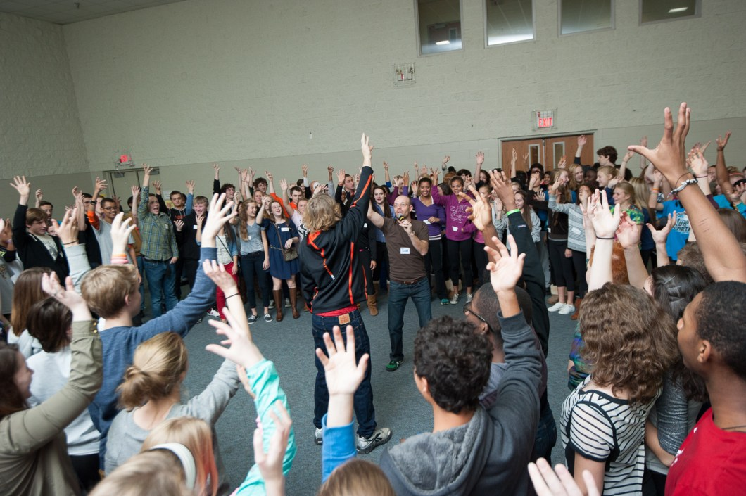 Students play a game on a Respect Retreat