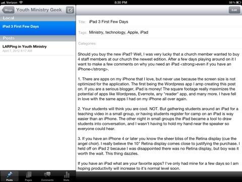 iPad 3 First Few Days
