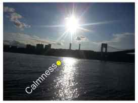 When I was sitting next to the river I felt calm, because it was beautiful sunny weather.