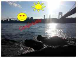 When I was sitting next to the river I felt comfortable, because I like that view.