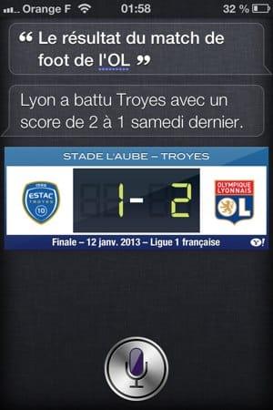 Demande des scores foot à Siri