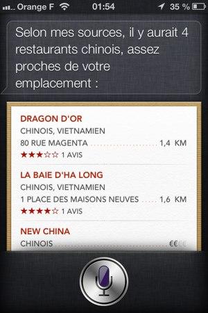 Recherche d'un restaurant asiatique avec Siri