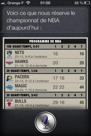 Demande des scores du basket à Siri