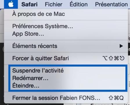 Eteindre ou redémarrer votre Mac 1