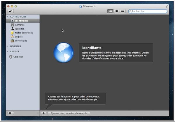 L'écran principal de 1Password