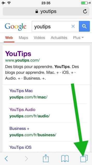 Comment faire une recherche internet sur plusieurs pages sur l'iphone5