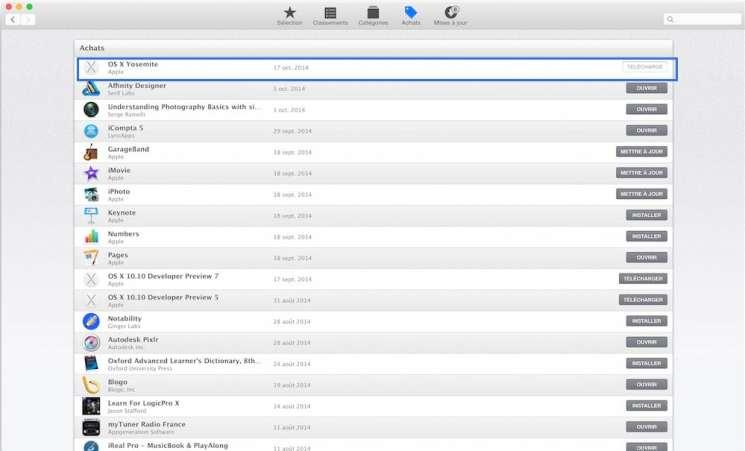 Mettre à jour votre Mac sur OS X Yosemite1