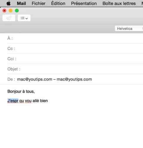 Raccourci clavier Mac pour corriger l'orthographe de vos mails1