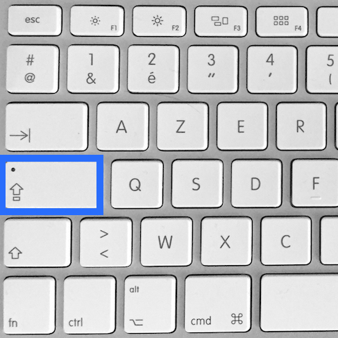 la touche pour verrouiller les majuscule sur Mac