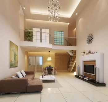 Simple White Duplex Living RoomDownload Free Vector3d