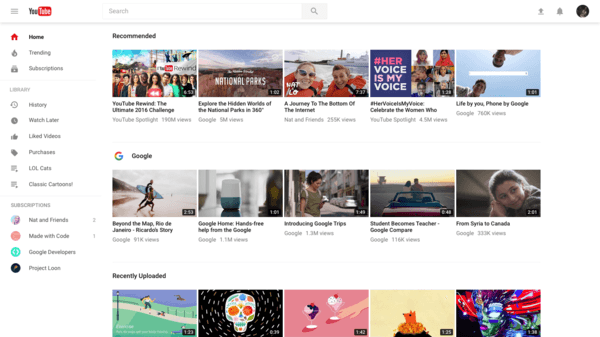 Clear Design YouTube UI
