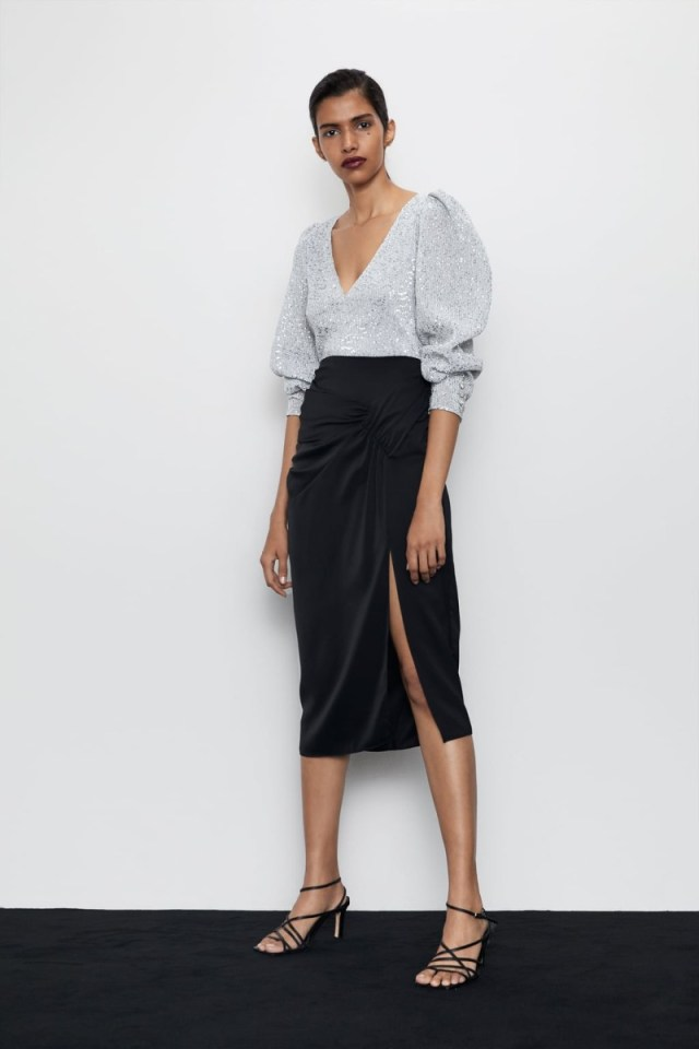 Zara ασημένια μπλούζα