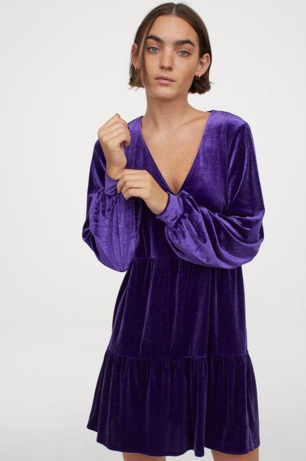 Μωβ φόρεμα βελβετ Η&Μ