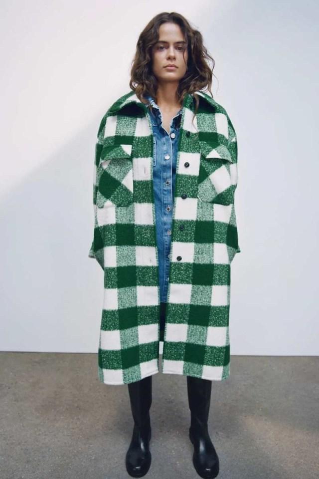 Zara καρό παλτό