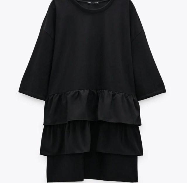 Zara μαύρο φόρεμα νέα συλλογή