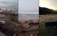 Endonezya'da Deprem Sonrası Tsunami Anı. Korkunç Görüntüler!