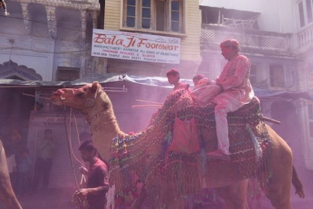 Pushkar se nomme la ville de Holi il y a donc ici plusieurs fetes des couleurs dans une année pour le plus grand plaisir des touristes photo blog voyage tour du monde http://yoytourdumonde.fr