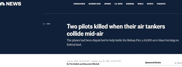 Two firefighting planes collided during mission in Nevada, killing two pilots