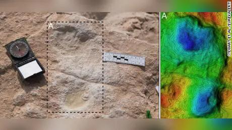 Footprint fossils from 120,000 years ago,