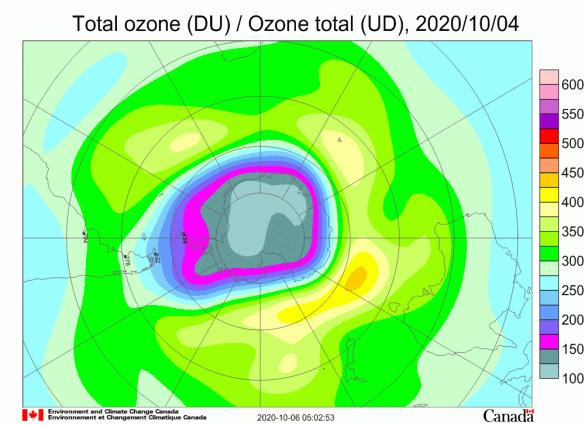 World Meteorological Organization:Antarctic ozone hole is big and deep in 2020