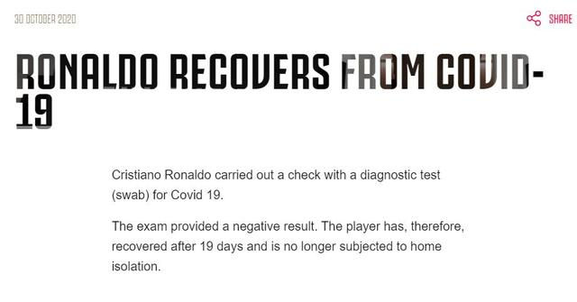Cristiano Ronaldo's new coronavirus test turns negative and is expected to return in this game