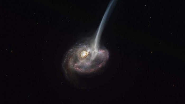 ALMA has observed a distant colliding galaxy that is releasing gas from its stars