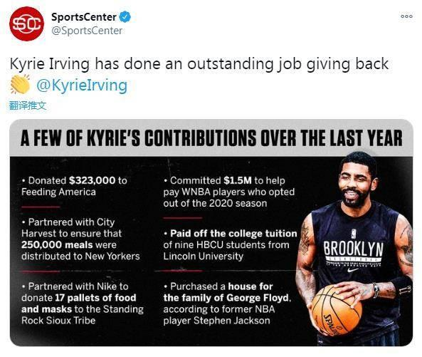 Good-hearted! U.S. media reveals the six great deeds of Irving in 2020