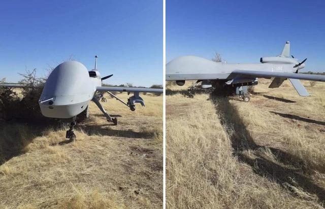 A U.S. military drone suddenly fell on the African grasslands, with missiles still hung under its wings.