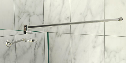 glass to wall shower curtain rail and support bar system 1000mm length
