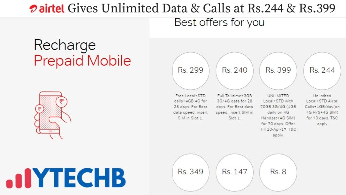 Airtel Gives Unlimited Data & Calls at Rs.244 & Rs.399
