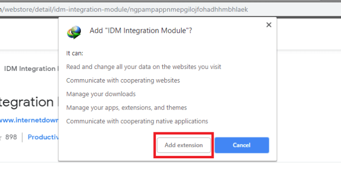 IDM extension for chrome