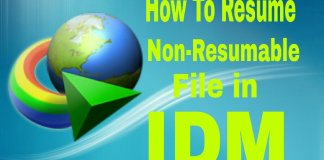 How to Resume Non-Resumable file in IDM