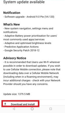 Nokia 8 Sirocco Android Pie Update