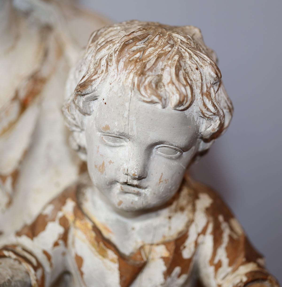 Vierge Lenfant En Bois Sculpt XVIII