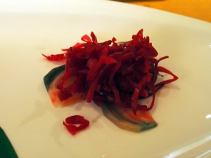 Detail of Omakase dish 3 at Nobu London