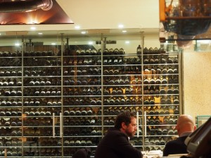 Wall of bottles at Zuma London
