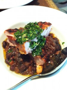 Chicken with morcilla & black beans at Salt Yard