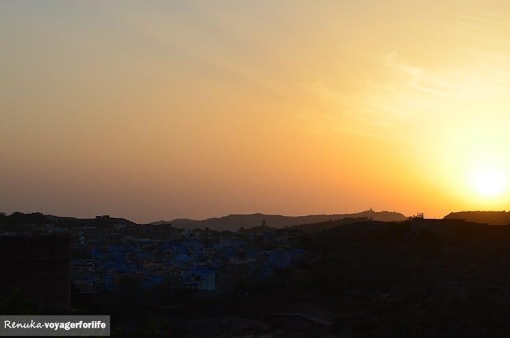 Sunset over the Blue City in Jodhpur