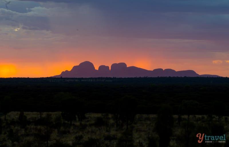 Sunset silhouette of Kata Tjuta, Australia