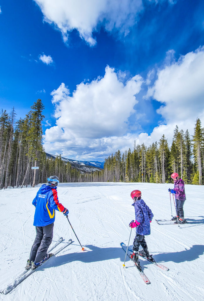 Skiing with Tom at Lookout Pass