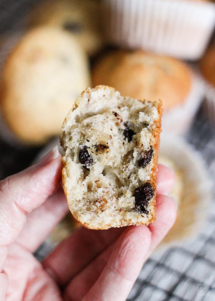 Muffins de plátano,nueces y chocolate