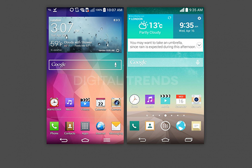 Comparison between LG G Pro 2 and LG G3 UI.