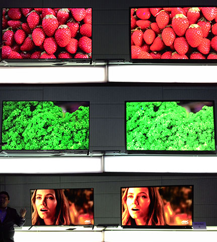"Sony compared their 4K UHDTVs against ""Brand S"" to show the difference in detail and contrast of the images."