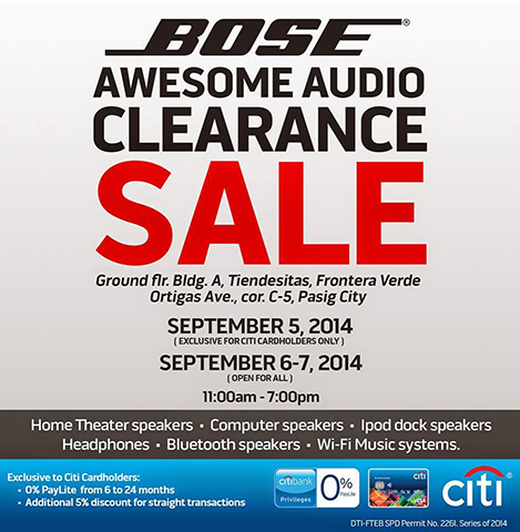 bose audio clearance sale sept 2014