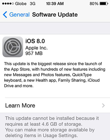 How to get the 5 7GB iOS 8 without erasing anything