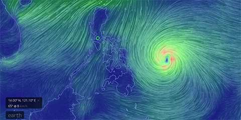 Typhoon Hagupit as of 8:46PM, December 4, 2014 (through earth.nullschool.net)