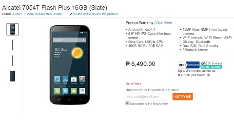 This is where you can order the Alcatel Flash Plus - YugaTech